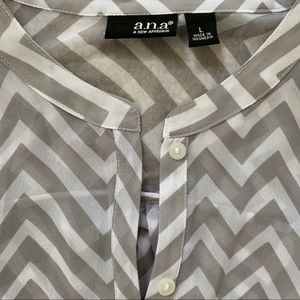 a.n.a Tops - a.n.a Sheer Blouse, Grey/White, Size L, NEW w/ Tag
